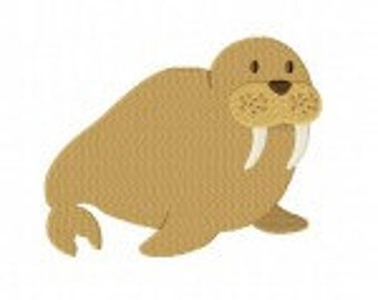 Brown Walrus Machine Embroidery Design