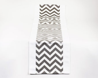 Chevron Print Grey and White Table Runner, Modern Runner, Contemporary Table Accessory, FREE SHIPPING TR-5-109