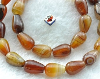 Banded Agate smooth teardrop beads 8x12mm,30 pcs