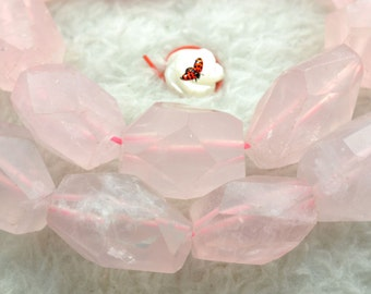Rose Quartz faceted nugget beads 13x18mm,15 inches