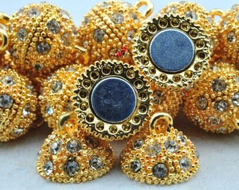 Gold plated Crystal Magnetic Clasp 14x21mm,10 Set