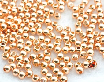 Rose Gold plated round  Spacer beads 4mm,100 pcs