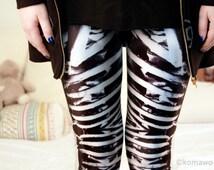 BONE MACHINE LEGGINGS/ Gothic/Sexy Funky Yoga Pants Bottoms/Stretchy Tights/Halloween Zeny Leggings/Sports Pants/Yoga Tights/ Skull dz93