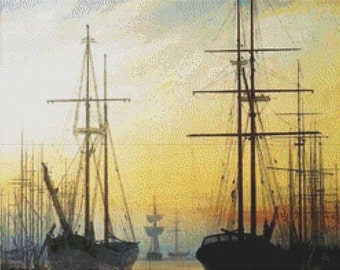 View of a Harbour PDF Cross Stitch Pattern