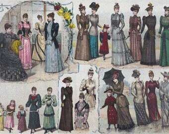1891 Fashion PDF Cross Stitch Pattern