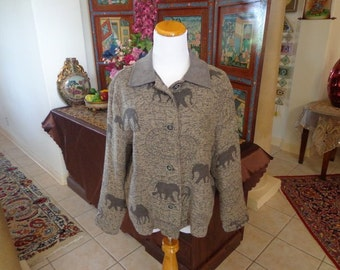 Sale Vintage 90's David Paul Ladies Jacket Fleece Jacket Animal Print Safari Jacket Size M/ L Price Reduction