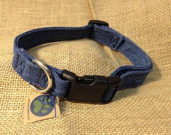 Denim Dog Collar, Upcycled, Eco-friendly, Blue