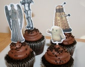 Instant Download- Dr. Who Cupcake Toppers Enemies-10 Characters