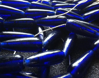6 Cobalt Blue Glass Beads - Blue Beads - Large Glass Beads - Jewelry Making Supplies - Beading Materials