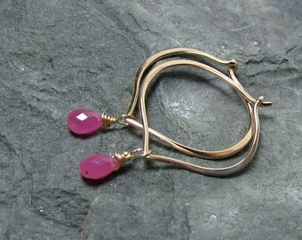 Pink Sapphire 14K Solid Gold Hoops, Medium Lotus Earrings, Gift for Her