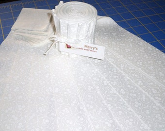 """FREE shipping to USA addresses - Floral Swirl Prints White Jelly Roll Cotton Fabric 10 pieces of 2-1/2"""" Strips"""