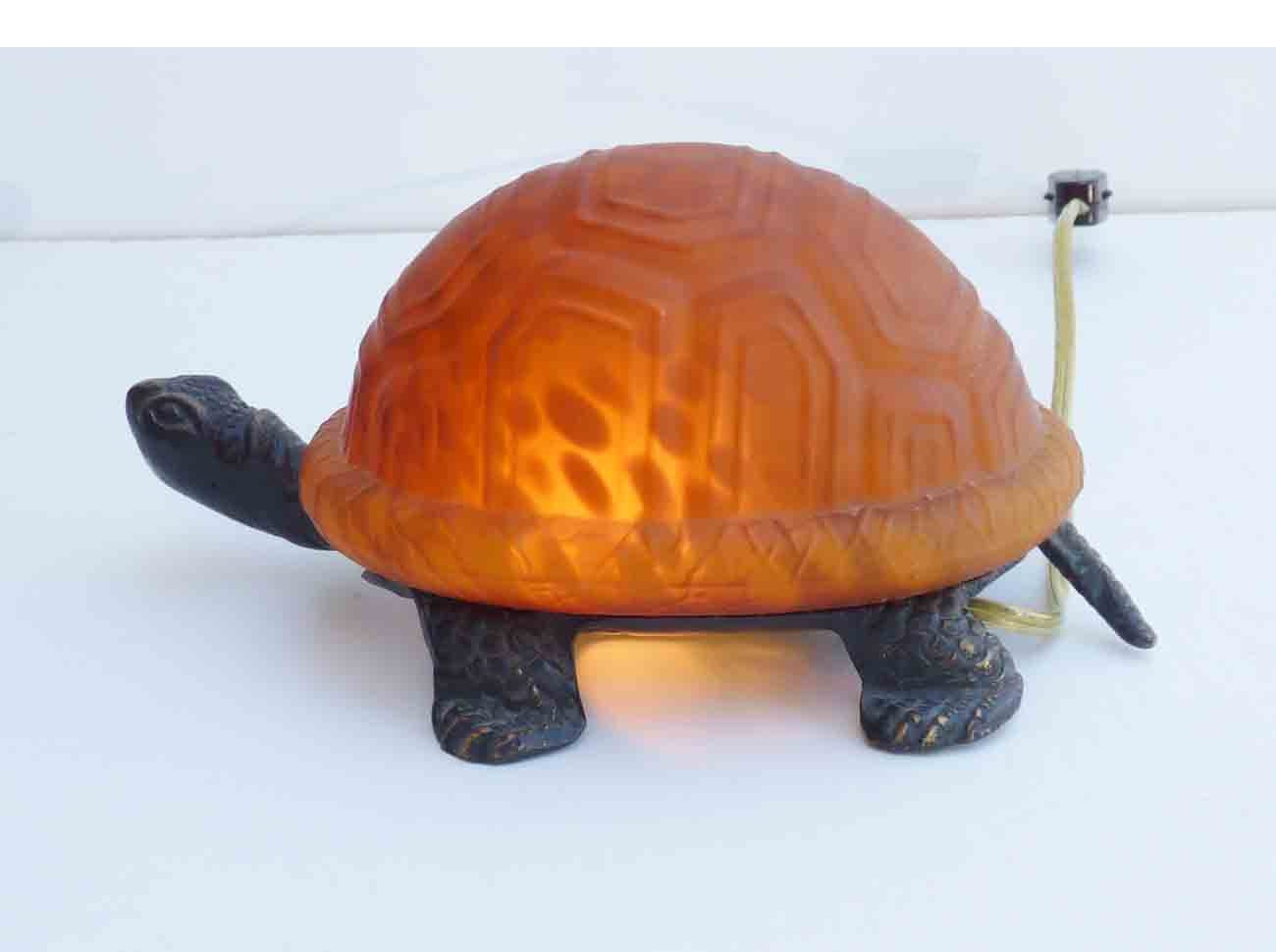 Vintage Turtle Lamp Glass Light Eclectic Mid Century Table