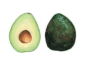 Avocado Art // Food Illustration //  Art Print, Green Home Decor, Mexican food, California