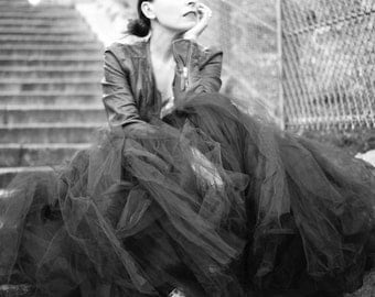 FULL LEGTH BLACK tutu skirt - 8 layers sewn tutu - Custom - Black tulle skirt - Adult tutu skirt - Girl black tulle skirt - Flower girl tutu