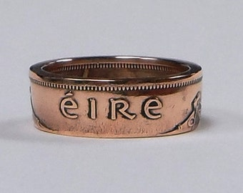 Ring hand made from Irish 1/2 Penny coin