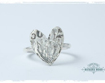 Sterling Silver Protea Heart ring