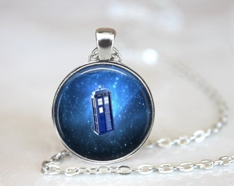 """Tardis Necklace, Police Box Time Travel, Steam Punk Tardis in Space Pendant, 24"""" Chain, Gift bag."""
