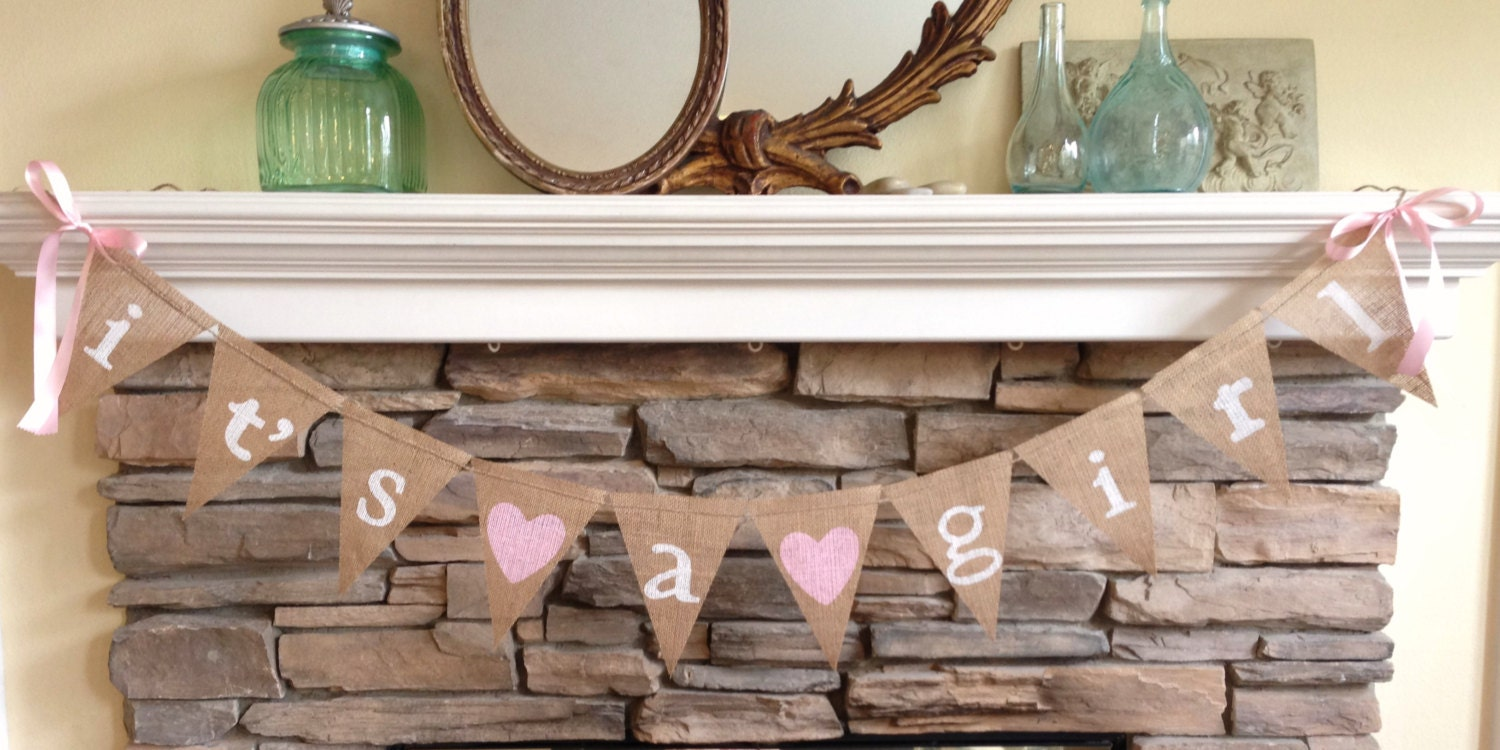 its a girl burlap banner baby shower decor photo prop