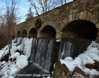 Case Falls,Manchester CT,scenic landscape,waterfall photography,winter waterfall,unique gift,gift ideas,home decor,wall art,Etsy find