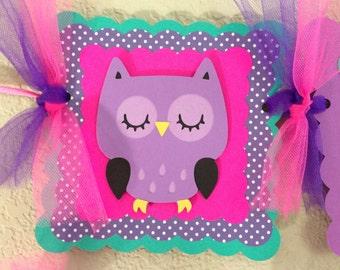 Owl Birthday Banner Girl Owl Banner