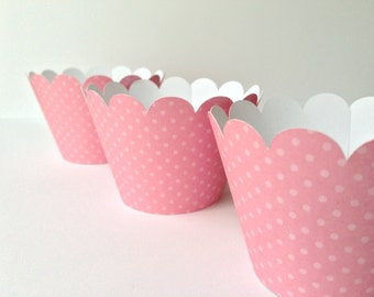 Cupcake wrappers pink white polka dots