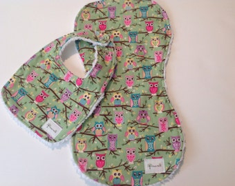 Owls. Baby Girl Gift Set, Burp Cloth, Bib - Ready to ship