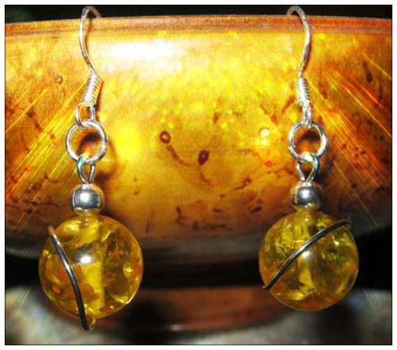 Handmade Silver Hook Earrings with Amber by IreneDesign2011