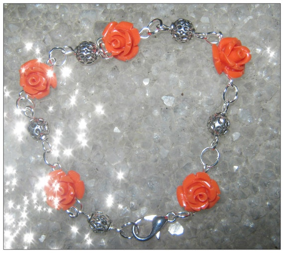 Handmade Silver Bracelet with Orange Resin Roses by IreneDesign2011