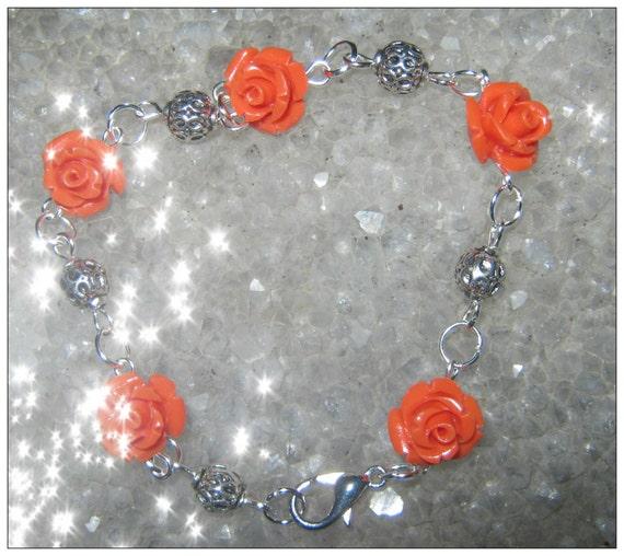 Handmade Silver Bracelet with Orange Resin Roses by IreneDesign2011