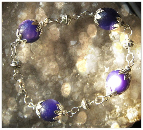 Handmade Silver Bracelet with Purple Cat Eye by IreneDesign2011