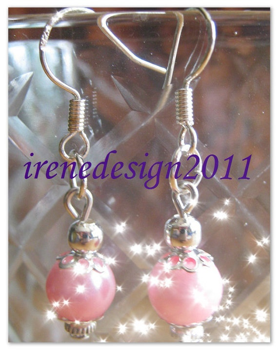 Handmade Silver Earrings with Pink Pearls
