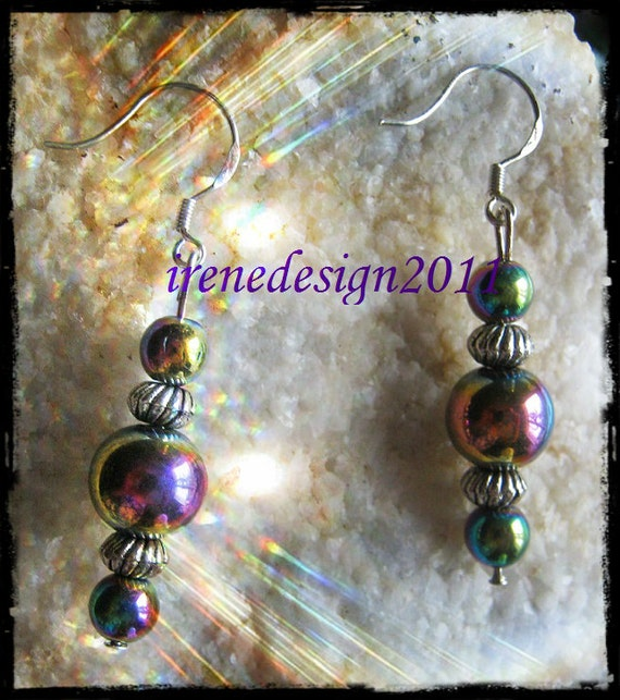 Handmade Silver Hook Earrings with Magnetite by IreneDesign2011