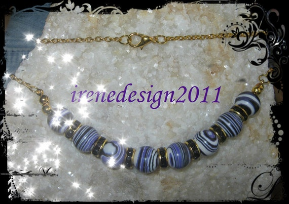 Handmade Gold Necklace with Striped Purple Gemstones by IreneDesign2011
