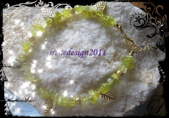 Beautiful Handmade Gold Anklet with Peridot & Leaves by IreneDesign2011