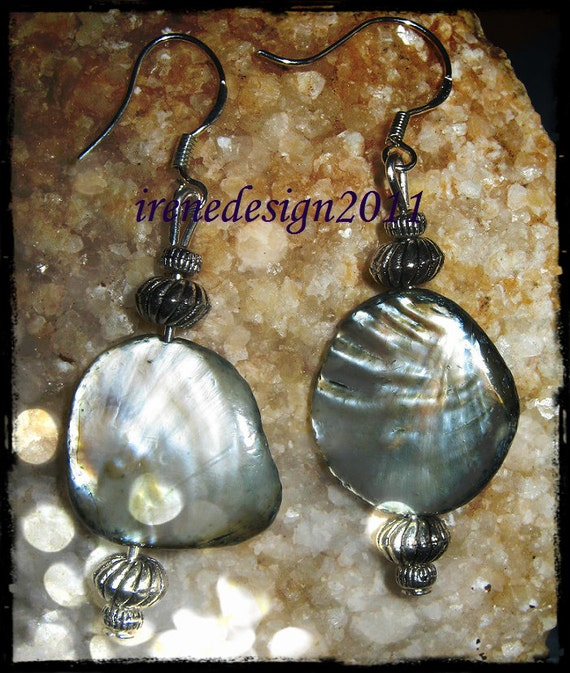 Beautiful Silver Hook Earrings with Green Seashell by IreneDesign2011