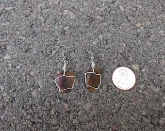 Petrified Wood Earrings wire wrapped (47)