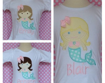 Personalized Mermaid Applique Shirt or Onesie Girl