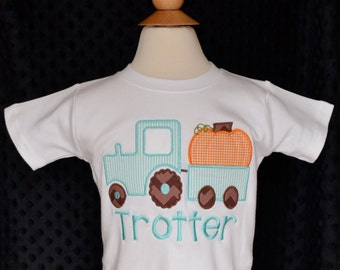 Personalized Pumpkin in Tractor Applique Shirt or Onesie for Boy or Girl