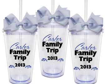 Set of 3 Family Vacation w/ Names - Acrylic Tumbler Personalized Cup