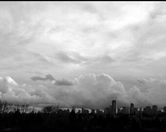 Vancouver skyline. B&W 5x7 Mini Print.