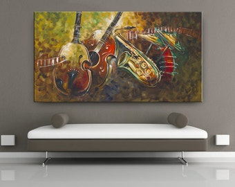 Music and Sound 3 ABSTRACT GUITAR ART sale Contemporary Modern Paintings Large Abstract Modern Art Gallery Online Print from Original Art