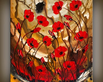 ORIGINAL Art Abstract Painting Red Poppy Flowers Large Textured Palette Knife Landscape Summer Poppies Wall Art Decor by Nandita Albright