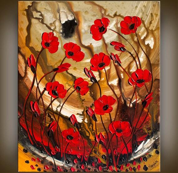 Original kunst abstrakte malerei rote mohn blumen gro e - Wandtattoo mohn ...