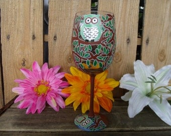 Owl Hand painted wine glasses  Set of 4