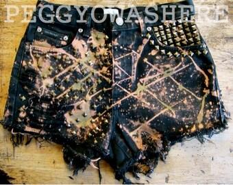 29 W VTG high waist cut off shorts stud acid splatter military dye safari Punk handmade custom boho hippie PEGGYOWASHERE OOAK