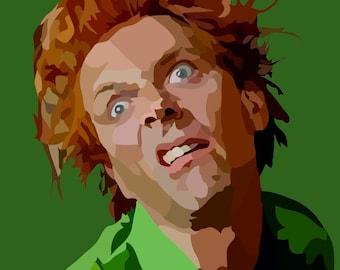 Rick Mayall as Drop Dead Fred Digital Art Print