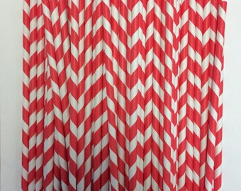 "Paper straw, red and white stripped 6"" 50count"