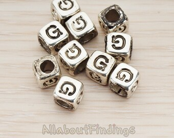 PDT1135-G-AS // Glossy Antique Silver Plated Initial Cube Metal Bead, 4 Pc