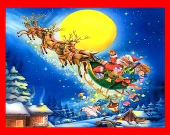 """Santa's Sleigh, Reindeer, Full Moon, Toys, Christmas, Holiday8x10"""" Cotton Canvas"""