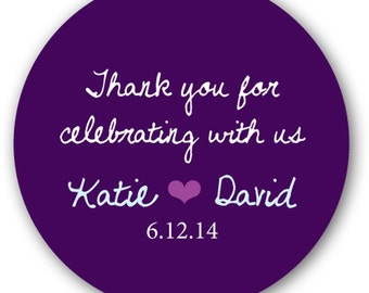 "30 Glossy 1.5"" Round Sticker Label Tags  - Custom Wedding Favor & Gift Tags - Choice of Colors - Thank You for Celebrating"